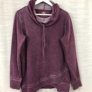 Tops - CALVIN KLEIN funnel neck sweatshirt merlot-size L